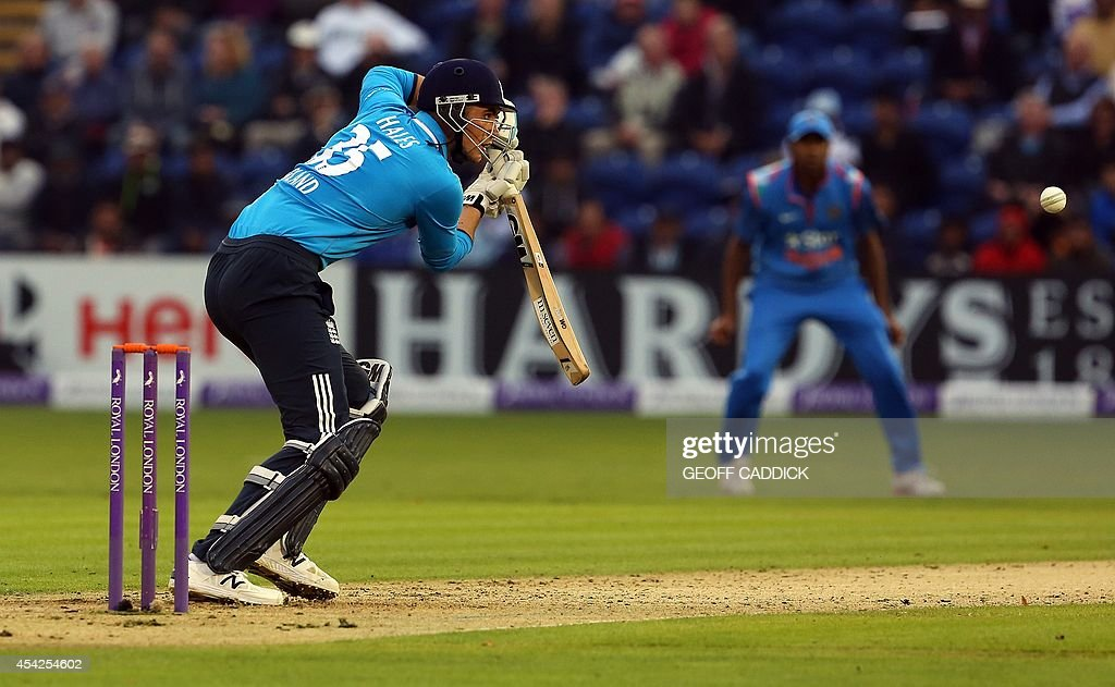 England's Alex Hales plays the ball in the second one-day international cricket match between England and India at the Glamorgan County Cricket Ground in Cardiff, Wales on August 27, 2014. India won by 133 runs.