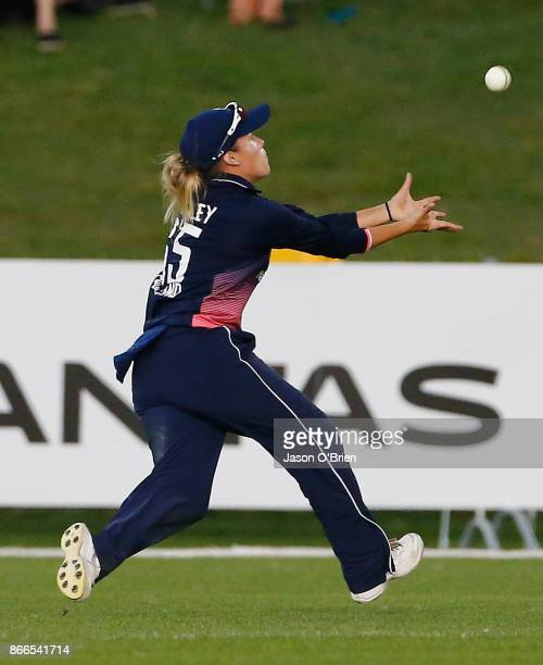 England's Alex Hartley takes a catch during the Women's One Day International match between Australia and England on October 26 2017 in Coffs Harbour...