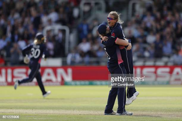 England's Alexandra Hartley celebrates with Heather Knight after taking the wicket of India's Harmanpreet Kaur during the ICC Women's World Cup...