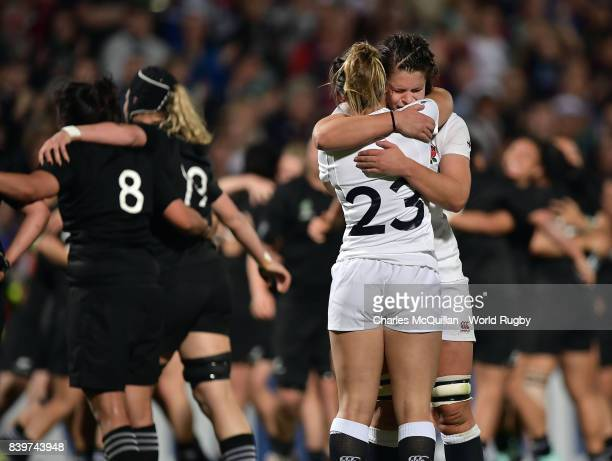 England's Amy WilsonHardy consoles team mate Abbie Scott after the Women's Rugby World Cup 2017 Final between England and New Zealand at Kingspan...