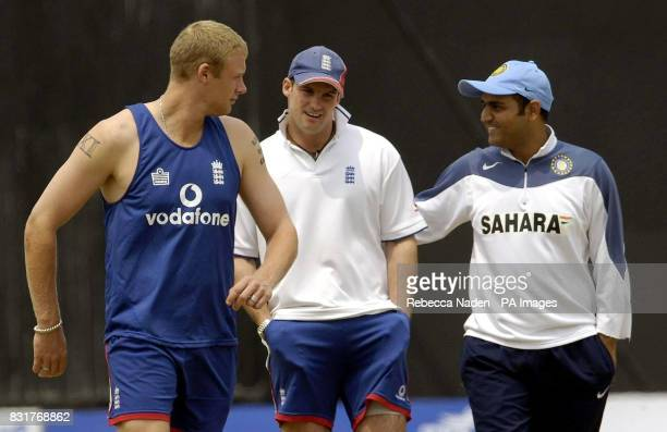 England's Andrew Flintoff Andrew Strauss and India's Virender Sehwag the Nehru Stadium Guwahati India Sunday 9th April 2006 The 5th ODI between India...