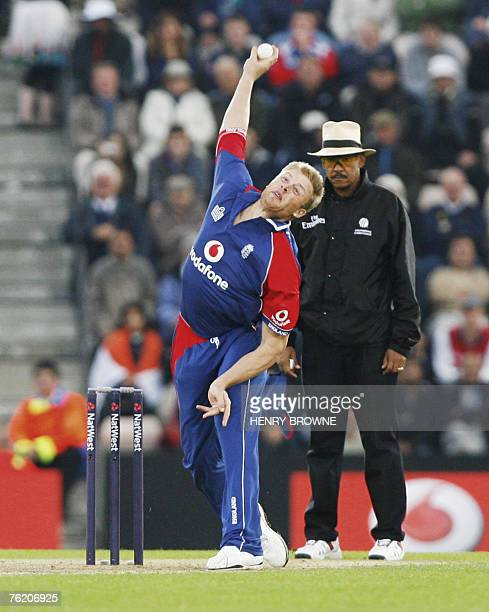England's Andrew Flintoff bowls during the first One Day International match against India at Southampton in southwest England 21 August 2007 AFP...