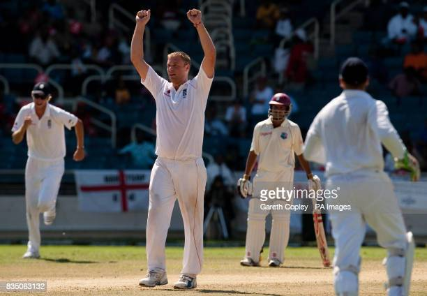 England's Andrew Flintoff celebrates dismissing West Indies captain Chris Gayle before he is found 'not out' after a referral during the First Test...