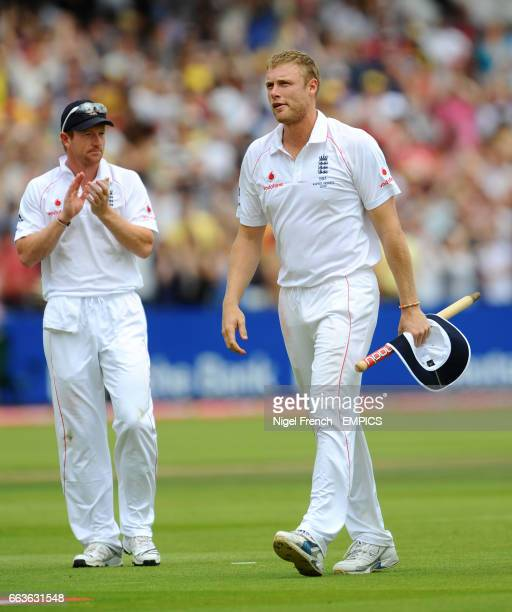 England's Andrew Flintoff leaves the Lords pitch triumphant after victory over Australia.