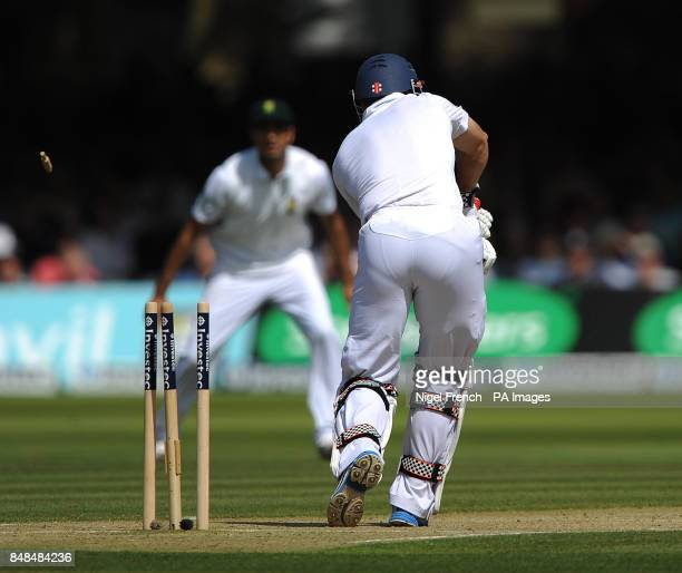 England's Andrew Strauss is bowled by South Africa's Morne Morkel during the Third Investec Test Match at Lord's Cricket Ground London