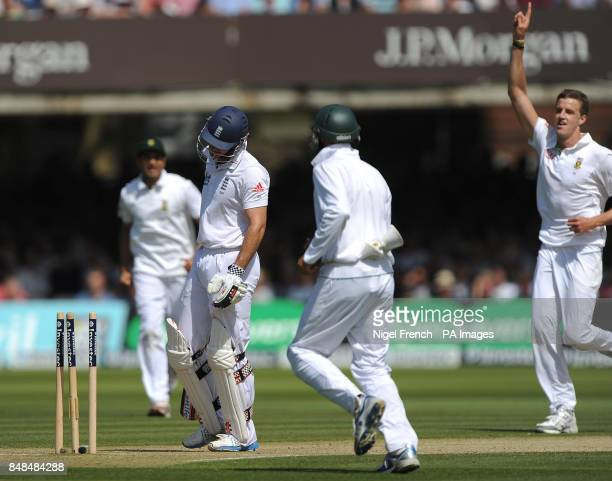 England's Andrew Strauss shows his dejection after losing his wicket to South Africa's Morne Morkel during the Third Investec Test Match at Lord's...