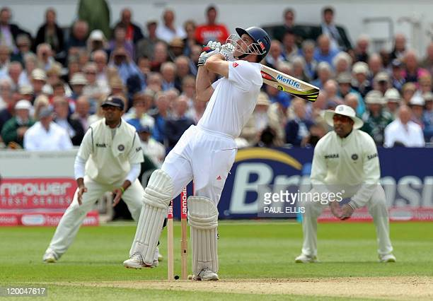 England's Andrew Strauss watches his shot during the first day of the second cricket test match between England and India at Trent Bridge in...