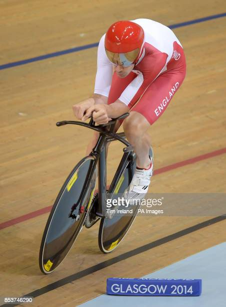 England's Andy Tennant rides in the 4000m time trial qualifying at the Sir Chris Hoy Velodrome during the 2014 Commonwealth Games in Glasgow