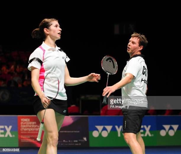 England's Anthony Clark and Heather Olver rue a missed chance whilst in action against Korea's Yong Dae Lee and Hyo Jung Lee during the Yonex All...