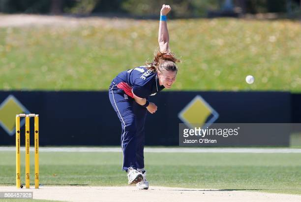 England's Anya Shrubsole bowls during the Women's One Day International match between Australia and England on October 26 2017 in Coffs Harbour...