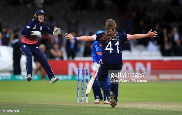 England's Anya Shrubsole celebrates the wicket of India's Rajeshwari Gayakwad during the ICC Women's World Cup Final at Lord's London