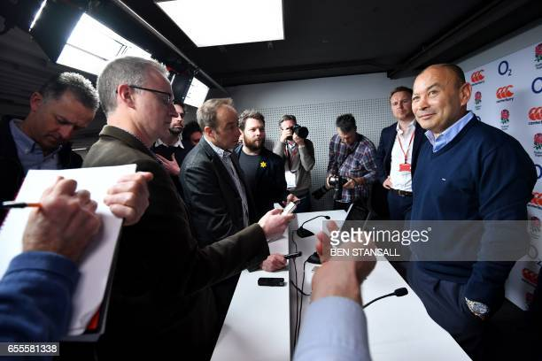 England's Australian head coach Eddie Jones addresses members of the media during a press conference at Twickenham stadium in south west London on...