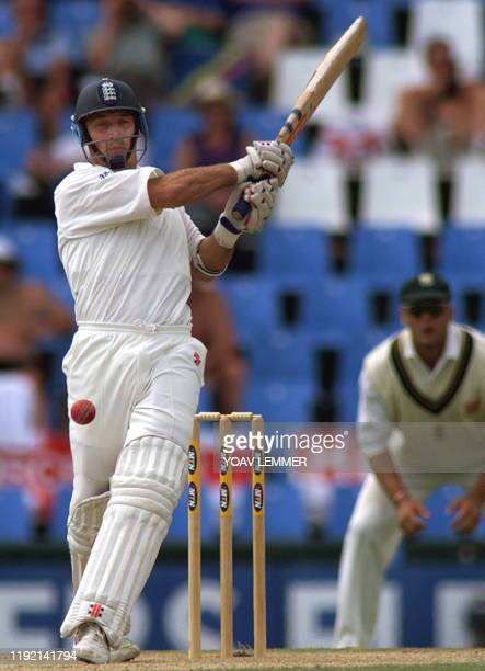 Englands batsman and captain Nasser Hussain defends the wicket 18 January 2000 during the last day of the last test match between England and South...