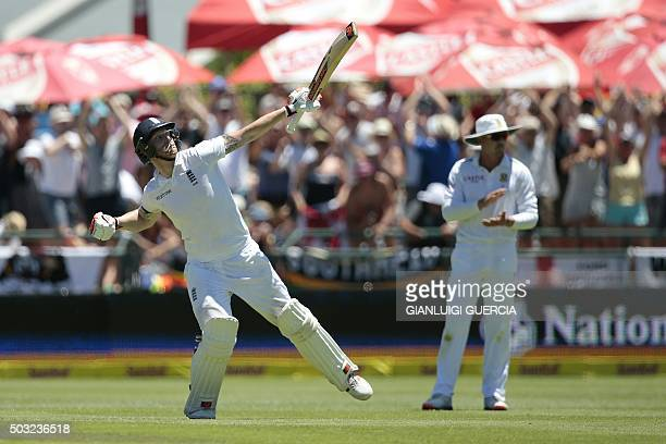 England's batsman Benjamin Stokes celebrates scoring a double century during the day two of the second Test match between England and South Africa at...