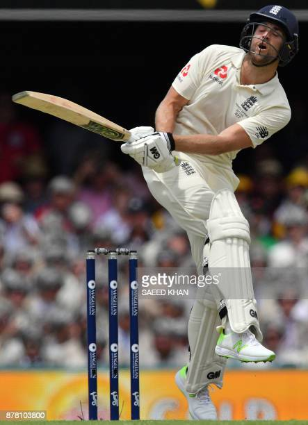 England's batsman Dawid Malan reacts as he fails to play a shot on the second day of the first cricket Ashes Test between England and Australia in...