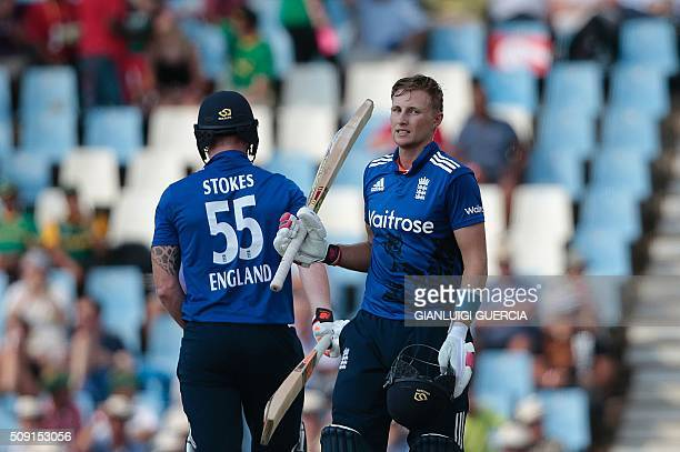 England's batsman Joe Root celebrates after scoring a century during the third One Day International match between England and South Africa at...