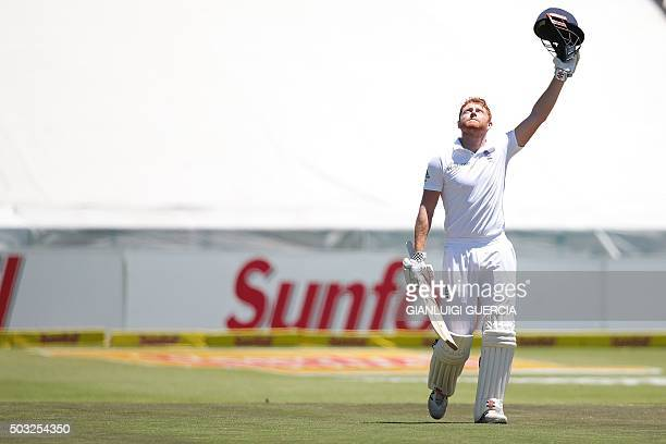 England's batsman Jonathan Bairstow celebrates after scoring a century during the day two of the second Test match between England and South Africa...