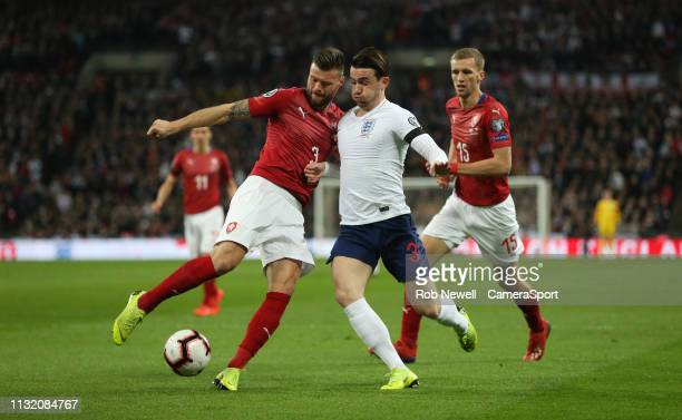 England's Ben Chilwell and Czech Republic's Ondrej Celustka during the 2020 UEFA European Championships group A qualifying match between England and...