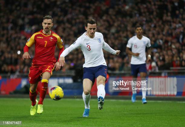 England's Ben Chilwell and Montenegro's during the UEFA Euro 2020 qualifier between England and Montenegro at Wembley Stadium on November 14 2019 in...