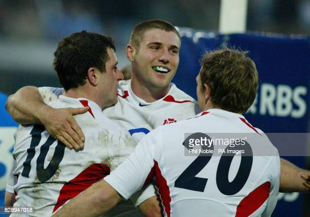 England's Ben Cohen congratulates Paul Grayson after he scored a try in their RBS 6 Nations victory over Italy at the Stadio Flaminio in Rome Italy