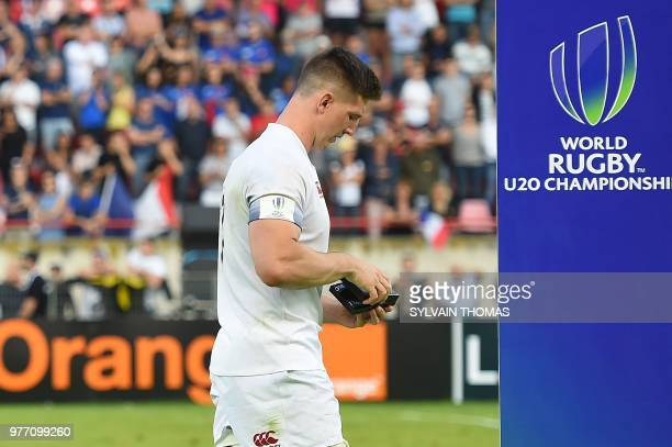 England's Ben Curry reacts after England lost the U20 World Rugby Union championship final match England vs France at the Mediterranean stadium in...