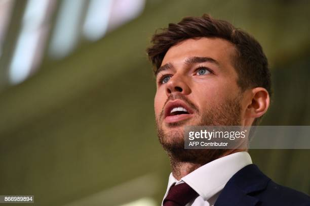 England's Ben Foakes speaks to the media ahead of the England cricket team's departure to Australia for the Ashes tour at Lord's Cricket Ground in...