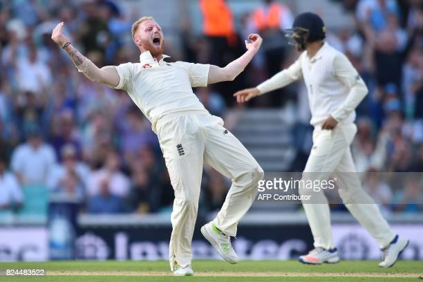 England's Ben Stokes appeals for leg before wicket after trapping South Africa's captain Faf du Plessis first ball on day 4 of the third Test match...
