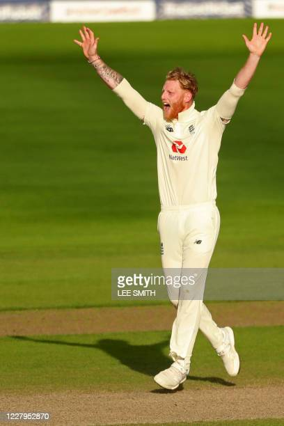 England's Ben Stokes appeals successfully for an LBW decision against Pakistan's Mohammad Rizwan on the third day of the first Test cricket match...