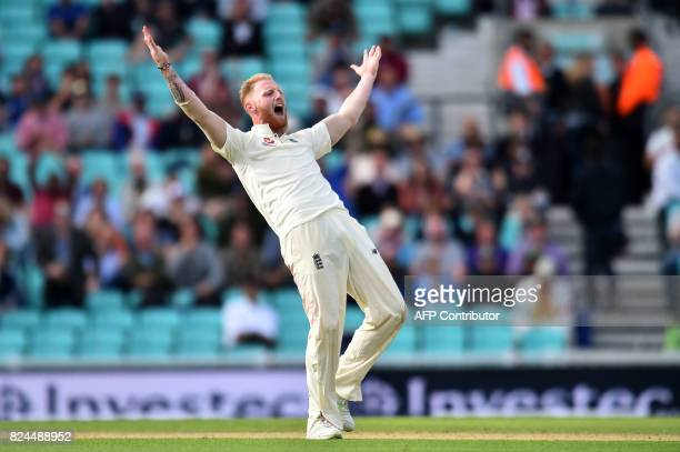 England's Ben Stokes appeals unsuccesfully for the wicket of South Africa's Temba Bavuma on the fourth day of the third Test match between England...