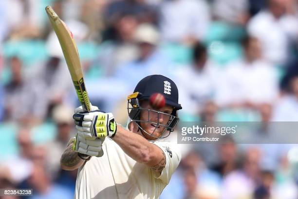 England's Ben Stokes bats on the second day of the third Test match between England and South Africa at The Oval cricket ground in London on July 28...