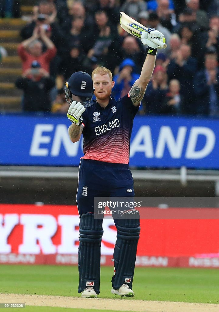 England's Ben Stokes celebrates after reaching 100 during the ICC Champions Trophy match between England and Australia at Edgbaston in Birmingham, central England on June 10, 2017. Australia made 277 for 9 off their 50 overs. / AFP PHOTO / Lindsey Parnaby / RESTRICTED