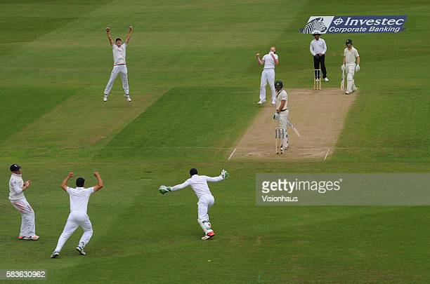 England's Ben Stokes celebrates as Ian Bell catches Mitchell Starc during the third day of the 4th Investec Ashes Test between England and Australia...