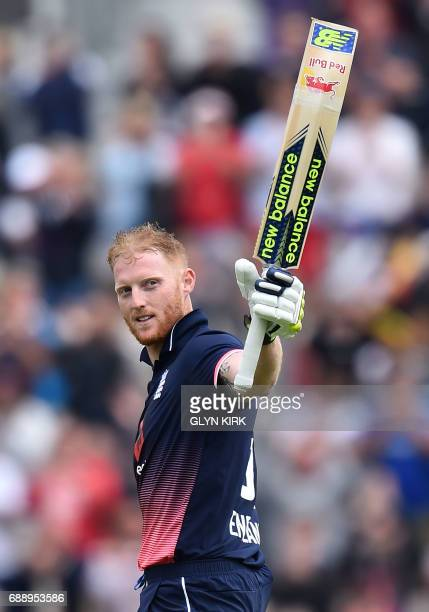England's Ben Stokes celebrates his century during the second OneDay International between England and South Africa of the South Africa in England...