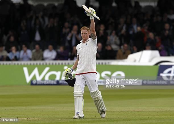 Englands Ben Stokes celebrates reaching his century during play on the fourth day of the first cricket Test match between England and New Zealand at...