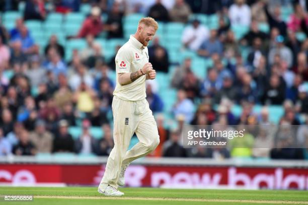 England's Ben Stokes celebrates the wicket of South Africa's Keshav Maharaj for five on the second day of the third Test match between England and...