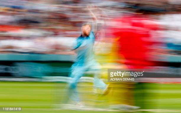England's Ben Stokes delivers a ball during the 2019 Cricket World Cup group stage match between England and Australia at Lord's Cricket Ground in...