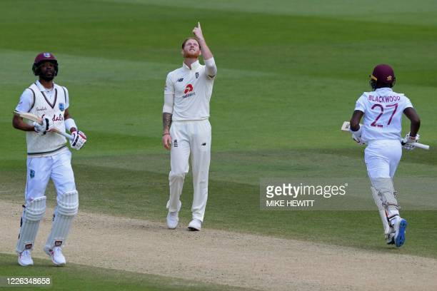 England's Ben Stokes gestures while bowling on the fifth day of the first Test cricket match between England and the West Indies at the Ageas Bowl in...