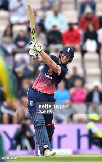 England's Ben Stokes hits a six during the second OneDay International between England and South Africa of the South Africa in England series in...