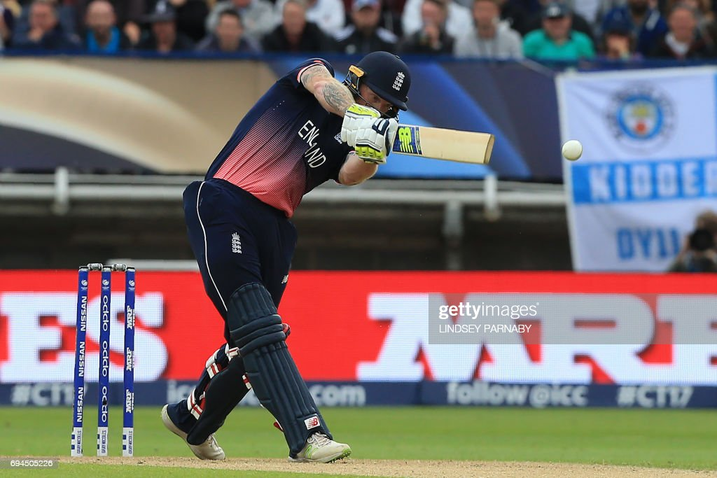 England's Ben Stokes plays a shot during the ICC Champions Trophy match between England and Australia at Edgbaston in Birmingham, central England on June 10, 2017. Australia made 277 for 9 off their 50 overs. / AFP PHOTO / Lindsey Parnaby / RESTRICTED