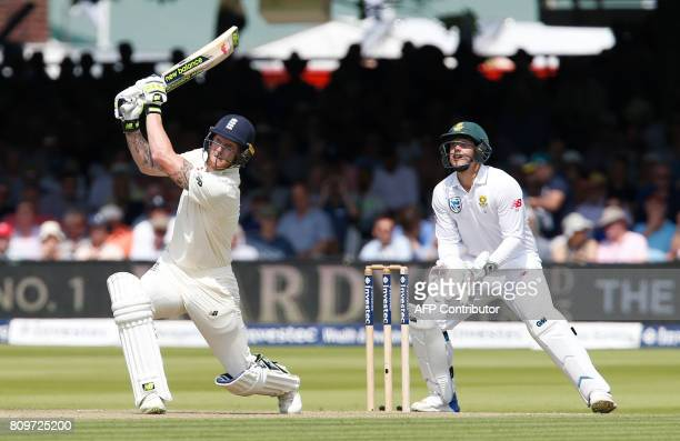 Englands Ben Stokes plays a shot on the first day of the first Test match between England and South Africa at Lord's Cricket Ground in central London...