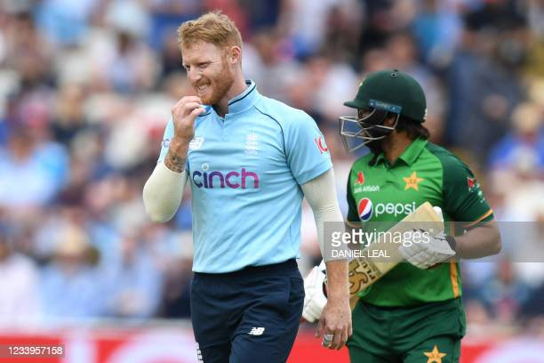 England's Ben Stokes reacts while bowling during the third one day international cricket match between England and Pakistan at Edgbaston cricket...