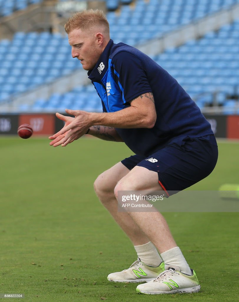 England's Ben Stokes takes a catch at nets practice session at Headingley cricket ground in Leeds, northern England on August 24, 2017, ahead of the second Test match against West Indies. / AFP PHOTO / Lindsey PARNABY / RESTRICTED