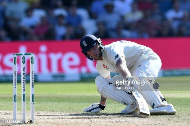 England's Ben Stokes turns for a second run during play on the fourth day of the third Ashes cricket Test match between England and Australia at...