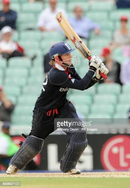 England's Beth Morgan bats during the ICC Women's World Twenty20 Semi Final at The Oval London