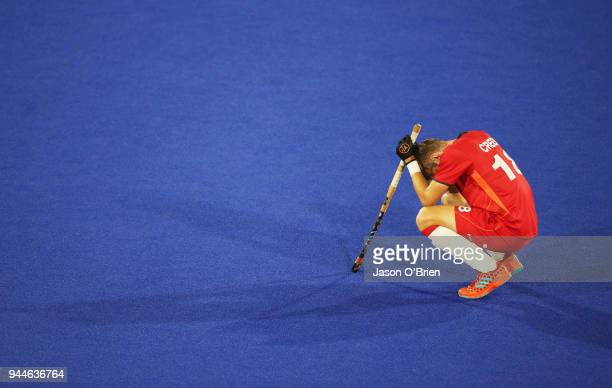 England's Brendan Creed looks dejected against India during Hockey on day seven of the Gold Coast 2018 Commonwealth Games at Gold Coast Hockey Centre...
