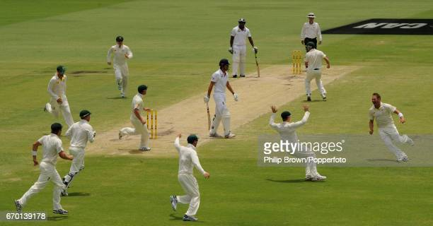 England's captain Alastair Cook is bowled first ball by Australia's Ryan Harris during the 3rd Ashes cricket Test match between Australia and England...