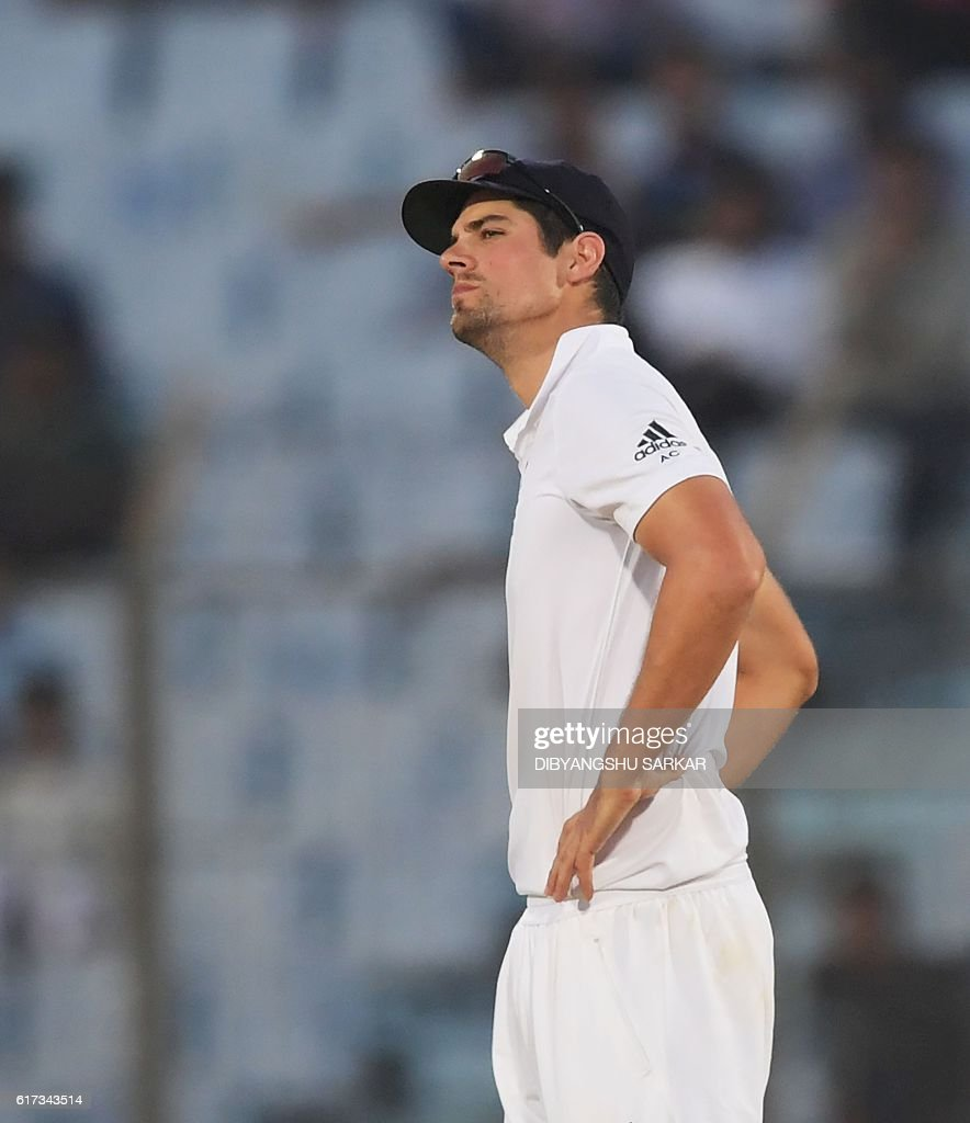 England's captain Alastair Cook reacts during the fourth day's play of the first Test cricket match between Bangladesh and England at Zahur Ahmed Chowdhury Cricket Stadium in Chittagong on October 23, 2016. / AFP / Dibyangshu SARKAR