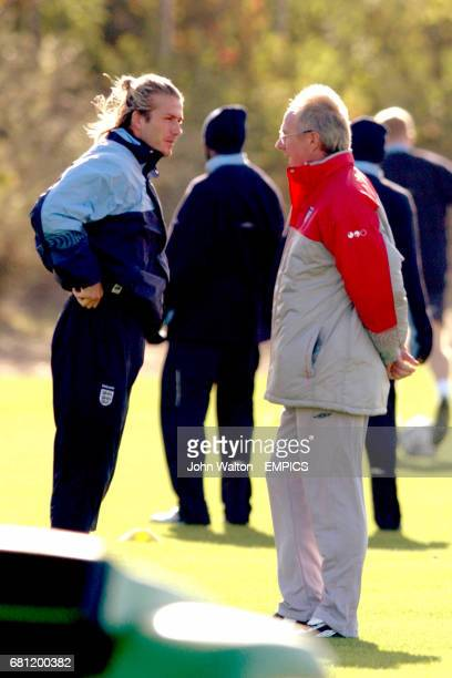 England's captain David Beckham chats with manager Sven Goran Eriksson during the training session