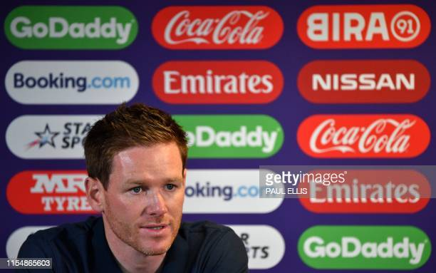 England's captain Eoin Morgan attends a press conference at Edgbaston in Birmingham central England on July 10 ahead of their 2019 Cricket World Cup...