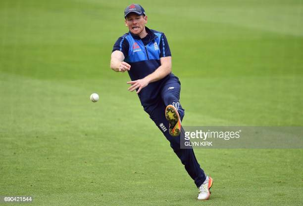 England's captain Eoin Morgan attends their nets practice session at The Oval in London on May 31 on the eve of their ICC Champions Trophy cricket...